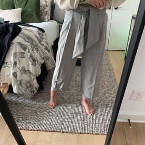 High-waist grey slacks